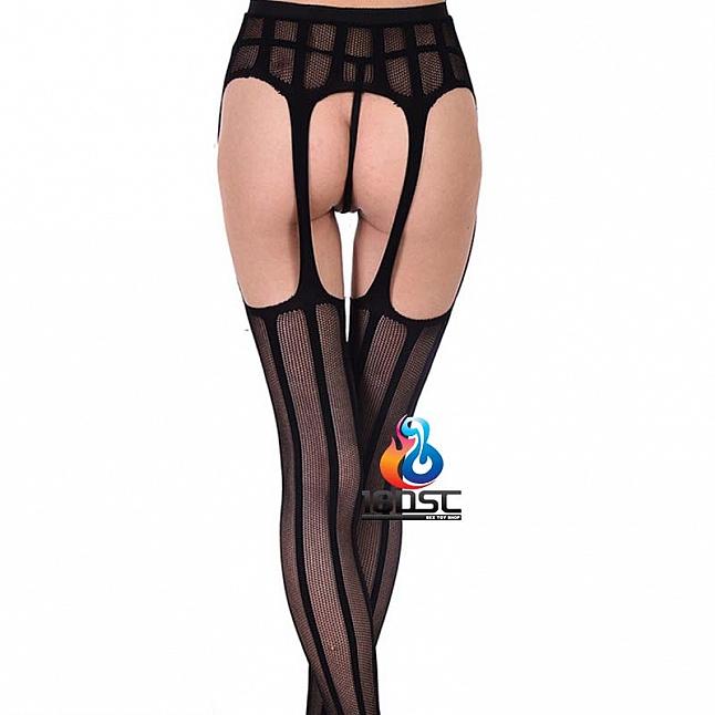 La CoCo Vertical Stripe Fishnet Suspender Pantyhose