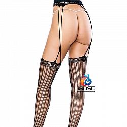 La CoCo 鏤空條紋開襠吊帶網襪