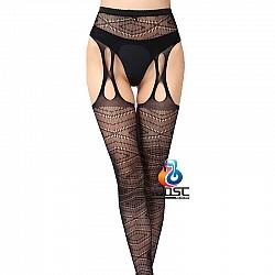 La CoCo 流線條紋開襠吊帶網襪