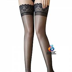 La CoCo 閃亮孔雀羽毛圖紋蕾絲大腿襪