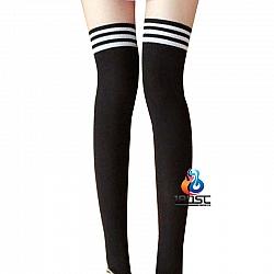 La CoCo 學院風條紋長筒絲襪