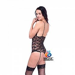 La CoCo 黑色蕾絲露咪咪連身衣連吊襪帶