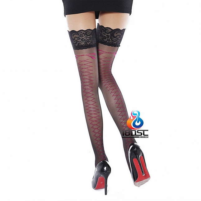 La CoCo Back Ribbon Wide Lace Top Stockings