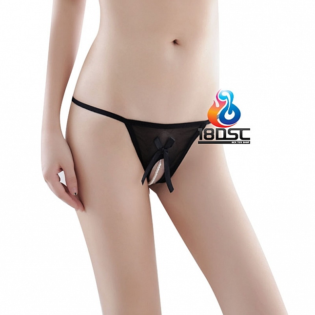 La CoCo Black Crotchless Pearl Thong 41304