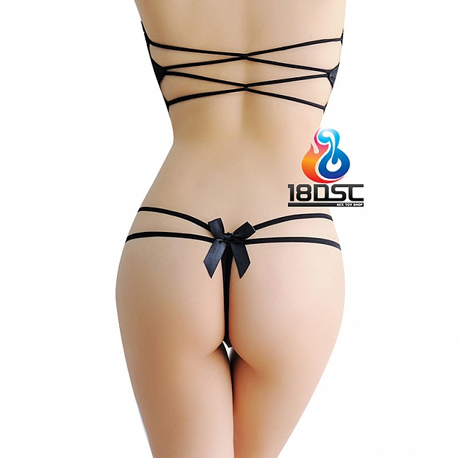 La CoCo Black Crotchless Thong with Bows 46842