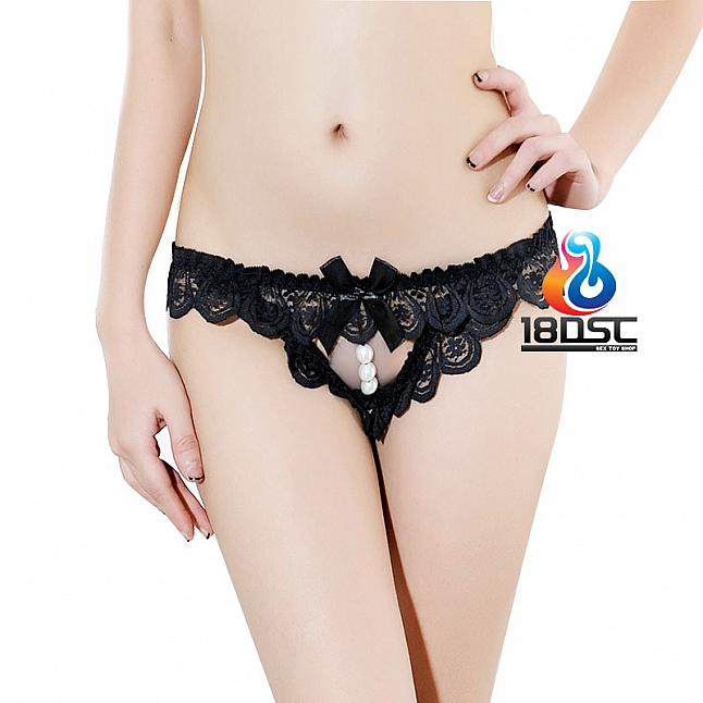 La CoCo Black Lace Thong with Pearl 49651