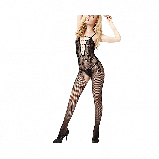 La CoCo Pink Bows Crotchless Bodystocking