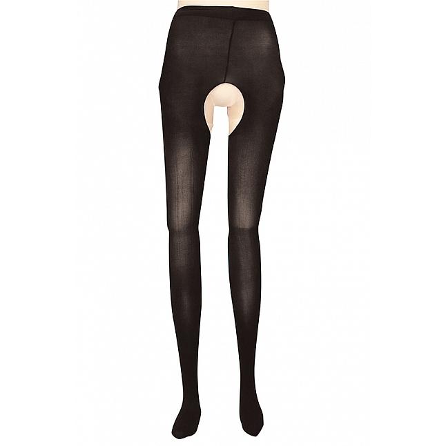 Tamatoys - 80 Denier Open-Crotch Black Tights