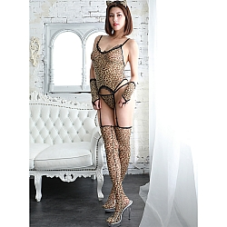 CRESCENTE - CR-035 豹紋連身內衣連大腿襪套裝