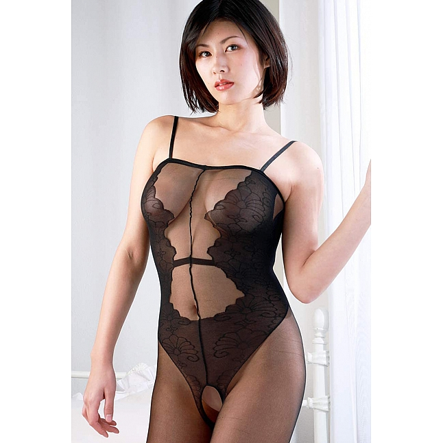 CRESCENTE - CR-019  Black Sheer Crotchless Bodystocking