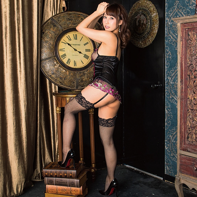 Mon Chéri Black Embroidered Floral Lace Garter Chemise with Stockings