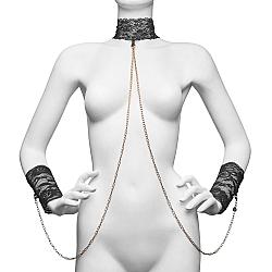 Secret Kisses - 蕾絲頸帶連手枷套裝