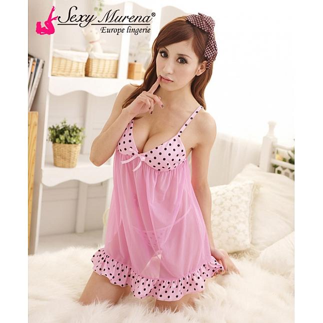 Sexy Murena Pink Polka Dot Babydoll