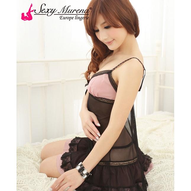 Sexy Murena Pink and Black Mesh Babydoll